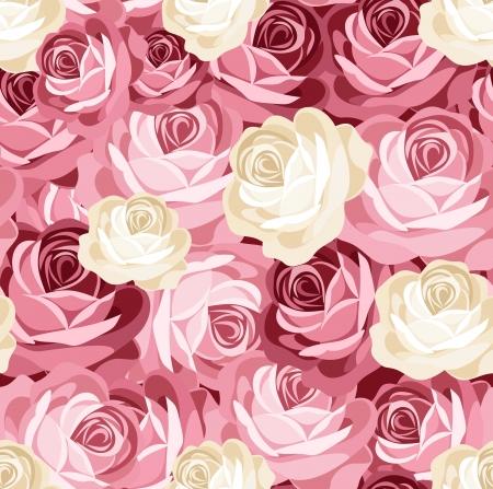 to continue: Patr�n sin fisuras con las rosas rosadas y blancas.