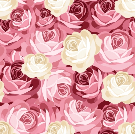 continuous: Seamless pattern with pink and white roses.