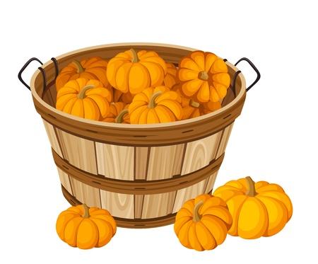 fruit stem: Wooden basket with pumpkins.