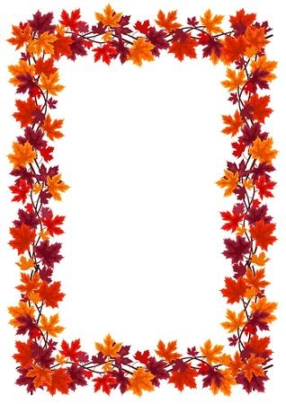 Autumn maple leaves frame Stock Vector - 18476350