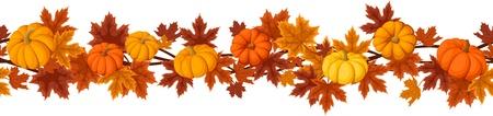カボチャと秋のカエデの葉の水平方向のシームレスな背景