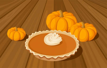 Pumpkin pie and orange pumpkins  Vector illustration  Vector