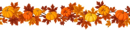 Horizontal seamless background with pumpkins and autumn maple leaves.