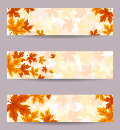 autumn leaves falling: Set of three banners (468x120px) with autumn leaves.