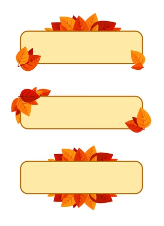 Set of three banners with autumn leaves. Vector