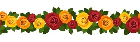 orange rose: Horizontal seamless background with roses.