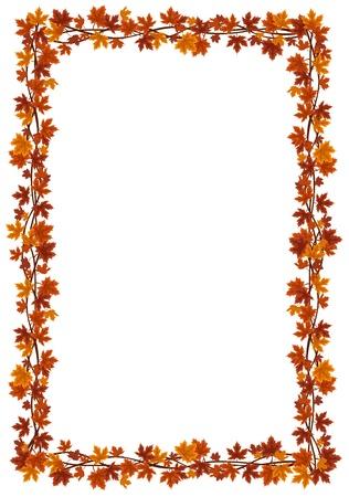 fall leaves border: Autumn maple leaves frame.