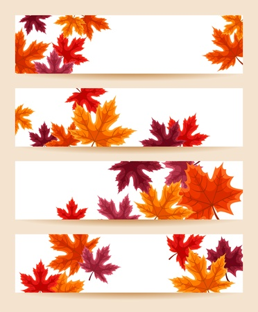 Set of four banners  468x120px  with autumn maple leaves Stock Vector - 18273250