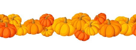 Horizontal seamless background with pumpkins. Vector