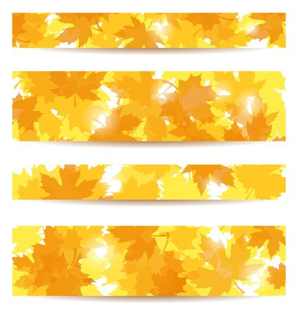 Set of four banners with autumn maple leaves. Stock Vector - 18273361