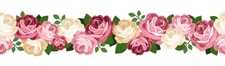 Horizontal seamless background with roses. Stock Vector - 18272885