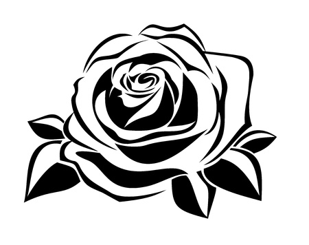 stencil art: Black silhouette of rose.