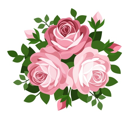 Three pink roses.  Vector