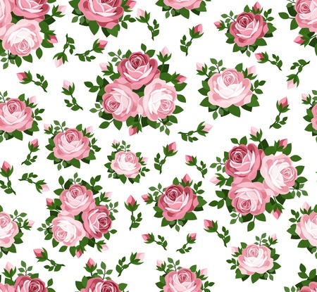 rosebuds: Seamless pattern with pink roses.