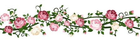 vintage roses: horizontal seamless background with pink and white roses.
