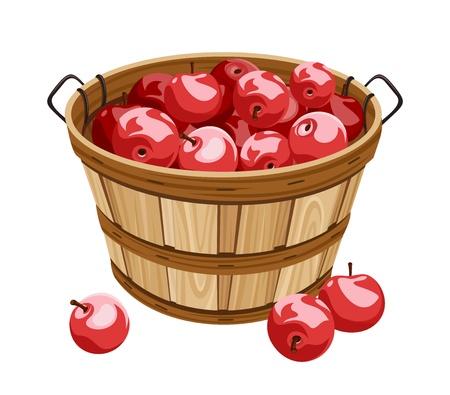 košík: Dřevěný koš s červenými jablky.
