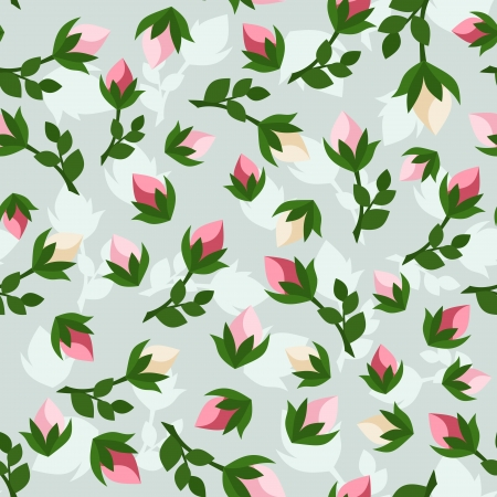 Seamless pattern with rosebuds. Vector