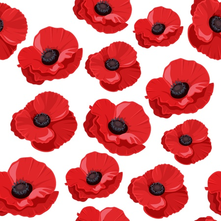 Seamless pattern with red poppies.  Vector