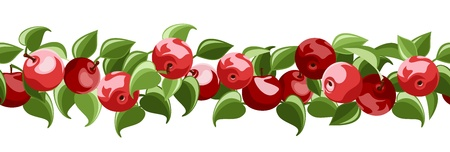 Horizontal seamless background with red apples and leaves.  Vector