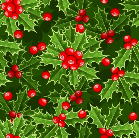 ilex: Seamless background with Christmas holly