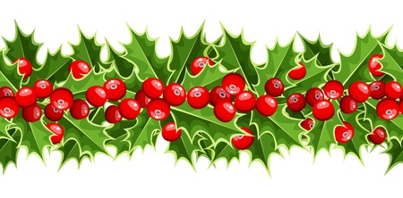christmas berries: Horizontal seamless background with Christmas holly