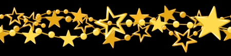 five stars: Horizontal seamless garland with golden stars  Illustration