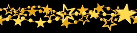 slingers: Horizontale naadloze slinger met gouden sterren Stock Illustratie