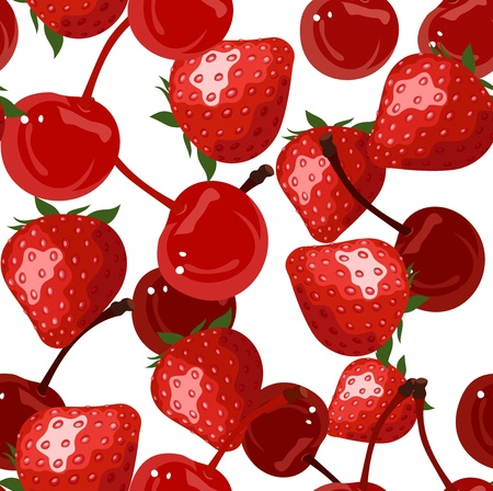 Seamless background with red berries Vector