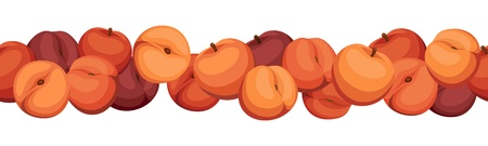 Seamless horizontal background with peaches.  Vector