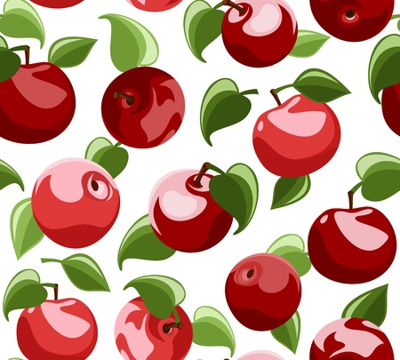 apple leaf: Seamless background with red apples and leaves.