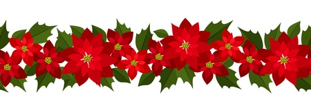 Horizontal seamless Christmas background with red poinsettia.  Vector