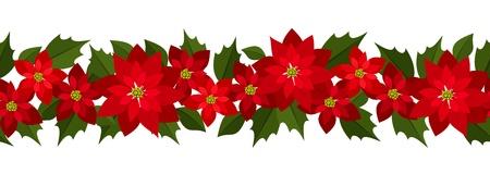 poinsettia: Horizontal seamless Christmas background with red poinsettia.