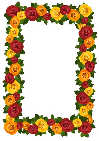 Frame with red and yellow roses. Vector