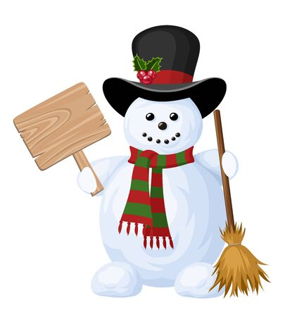 Christmas snowman with sign.  Vector