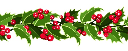 クリスマスのヒイラギと水平方向のシームレスな背景。
