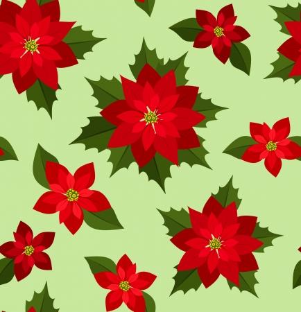 Seamless Christmas background with red poinsettias. Vektorové ilustrace