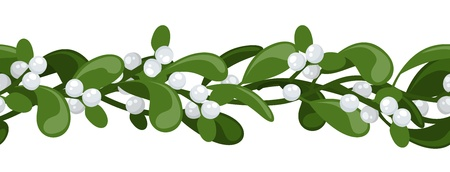 mistletoe: Horizontal seamless background with Christmas mistletoe.