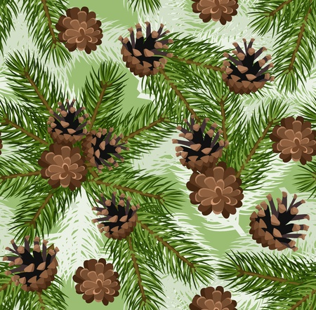 seamless background with fir tree branches and cones.  Vector