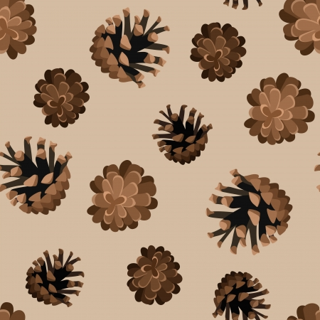 Seamless background with pine cones.  Vector