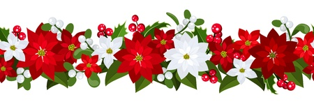 Christmas horizontal seamless background with poinsettia, holly and mistletoe. Vector