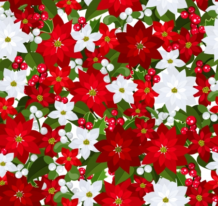 Christmas seamless background with poinsettia, holly and mistletoe. Vector
