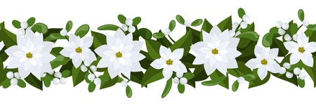 horizontal: Christmas horizontal seamless background with white poinsettia and mistletoe. Illustration