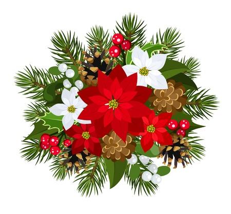 Christmas decoration with poinsettia, fir-tree, cones, holly, and mistletoe.