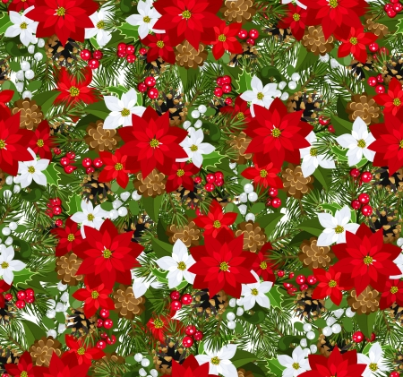 poinsettia: Christmas seamless background. Illustration