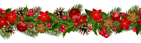 Christmas horizontal seamless background with fir-tree branches, cones, poinsettia and holly. Vector