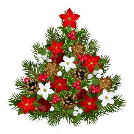 Decorative Christmas tree.  Vector