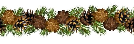 evergreen branch: fondo horizontal sin fisuras con ramas de abeto y conos. Vectores