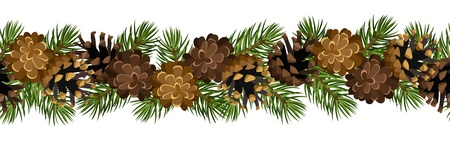 evergreen: horizontal seamless background with fir tree branches and cones.