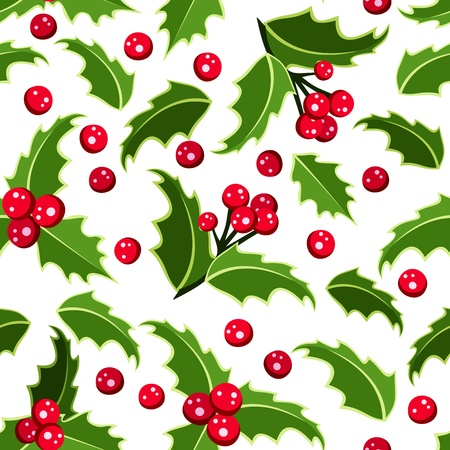 Seamless background with Christmas holly.  Vector