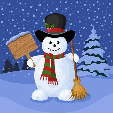 Christmas card with snowman and winter landscape.  Vector